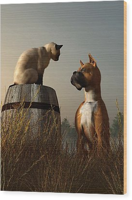 Boxer And Siamese Wood Print