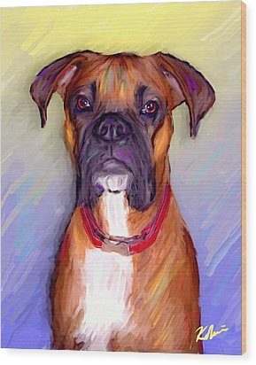 Boxer Beauty Wood Print by Karen Derrico