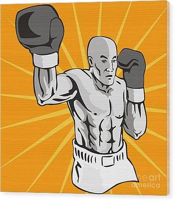 Boxer Boxing Knockout Punch Retro Wood Print by Aloysius Patrimonio