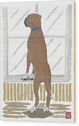 Boxer Dog Art Hand-torn Newspaper Collage Art Wood Print by Keiko Suzuki Bless Hue