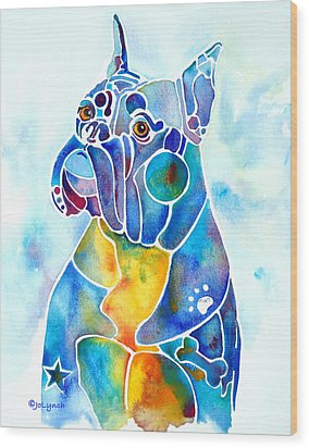 Boxer Dog Breed Blues Wood Print by Jo Lynch
