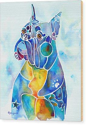 Boxer Dog Breed Blues Wood Print by Jo Lynch