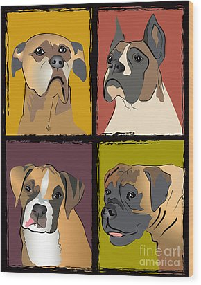 Boxer Dog Portraits Wood Print by Robyn Saunders