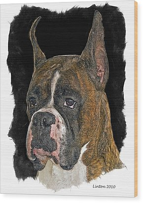 Boxer Wood Print by Larry Linton