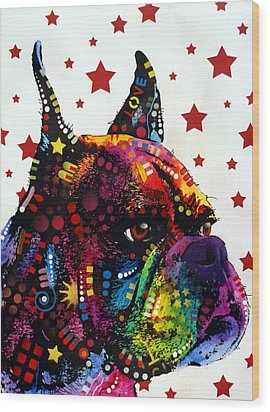 Boxer Love Wood Print by Dean Russo