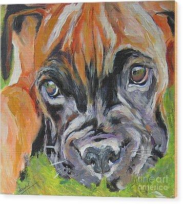 Boxer Pup Wood Print by Debora Cardaci