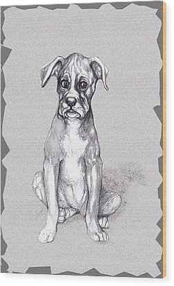 Boxer Pup Wood Print by Peggy Wilson