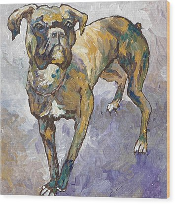 Boxer Wood Print by Sandy Tracey
