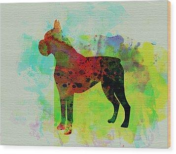 Boxer Watercolor Wood Print by Naxart Studio