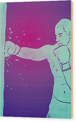 Wood Print featuring the drawing Boxing Club 6 by Giuseppe Cristiano