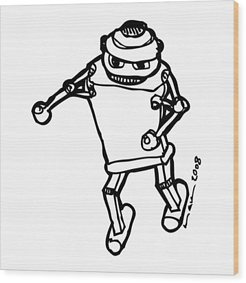 Boxing Robot Wood Print by Karl Addison