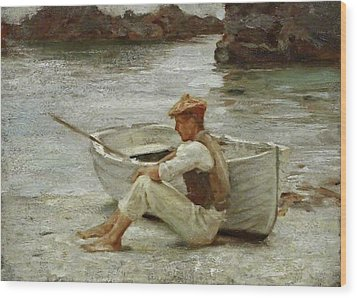 Wood Print featuring the painting Boy And Boat  by Henry Scott Tuke
