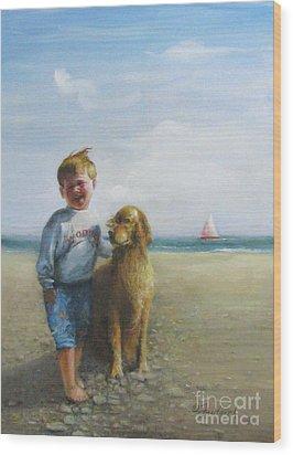 Boy And His Dog At The Beach Wood Print