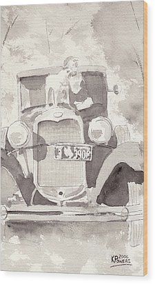 Boy And His Dog On An Old Car Wood Print by Ken Powers
