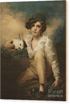 Boy And Rabbit Wood Print