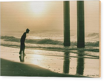 Wood Print featuring the photograph Boy At Sunrise In Alabama  by John McGraw