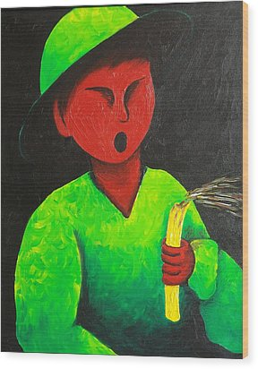 Boy Blowing Out Candle  1987 Wood Print by S A C H A -  Circulism Technique