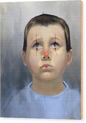 Boy Clown Wood Print