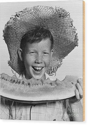 Boy Eating Watermelon, C.1940-50s Wood Print by H. Armstrong Roberts/ClassicStock