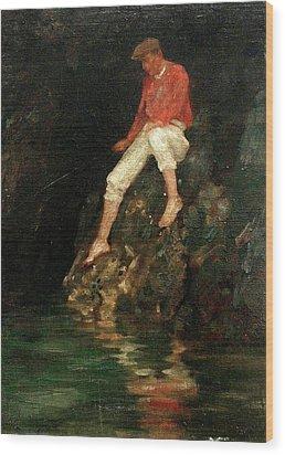 Wood Print featuring the painting Boy Fishing On Rocks  by Henry Scott Tuke