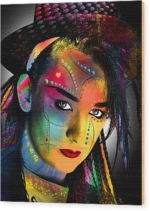Boy George  Wood Print by Mark Ashkenazi