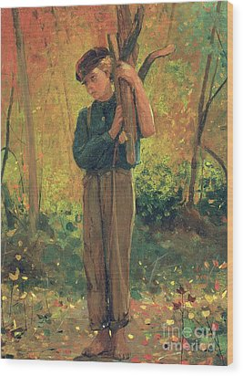 Boy Holding Logs Wood Print by Winslow Homer