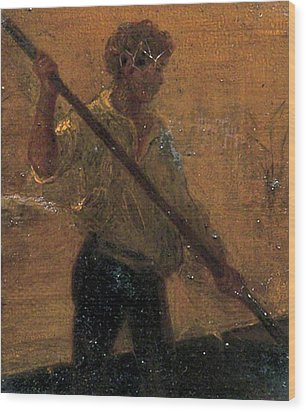 Wood Print featuring the painting Boy In A Punt by Henry Scott Tuke