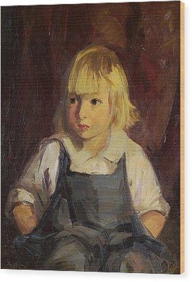 Boy In Blue Overalls Wood Print by Robert Henri