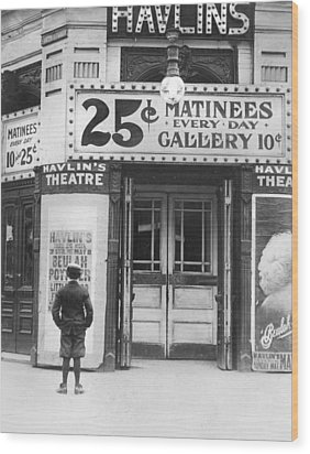 Boy In Front Of A Movie Theater Showing Wood Print by Everett