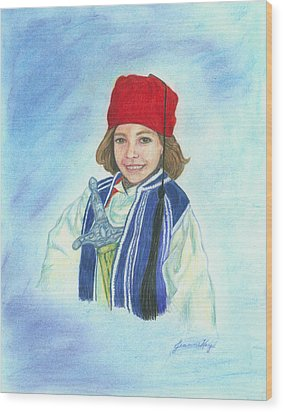 Wood Print featuring the painting Boy In Greek Costume by Jeanne Kay Juhos