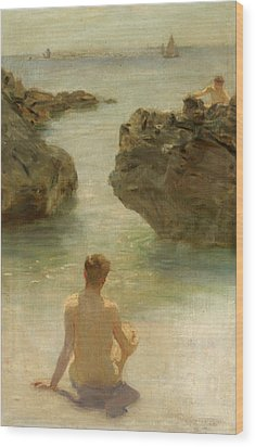 Wood Print featuring the painting Boy On A Beach, 1901 by Henry Scott Tuke