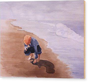 Boy On The Beach Wood Print by Robert Thomaston