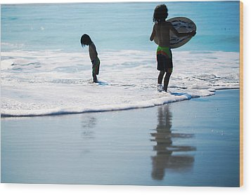 Boy On The Beach With Surf Board,skimboard,and Wave From The Pac Wood Print