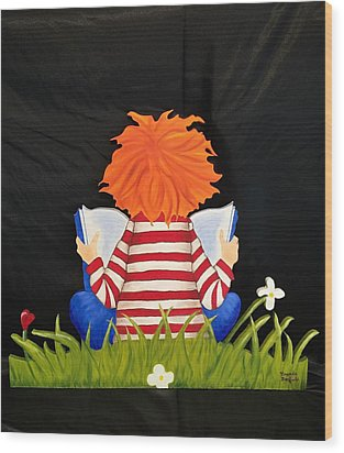Boy Reading Book Wood Print by Brenda Bonfield