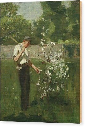 Wood Print featuring the painting Boy With A Grass Rake by Henry Scott Tuke
