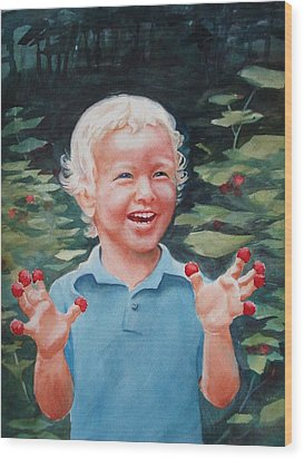 Boy With Raspberries Wood Print by Marilyn Jacobson