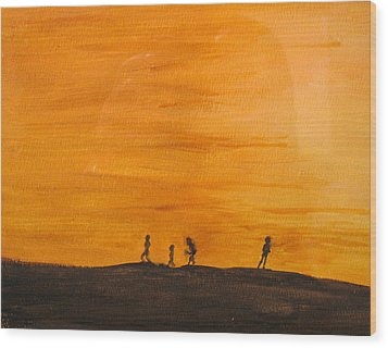 Wood Print featuring the painting Boys At Sunset by Ian  MacDonald