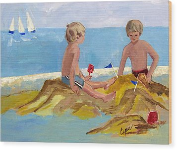 Wood Print featuring the painting Boys At The Beach by Betty Pieper