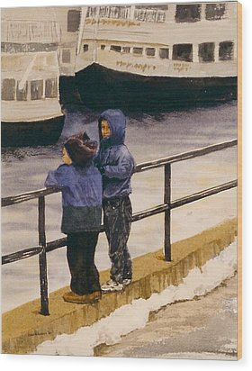 Wood Print featuring the painting Boys N Boats by Lynn Babineau