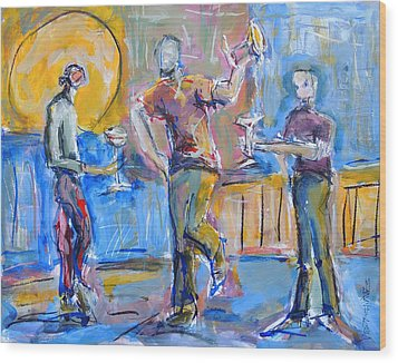 Boys Night Out Wood Print by Mary Schiros