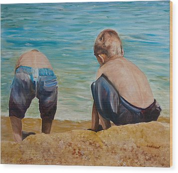 Boys On A Beach Wood Print