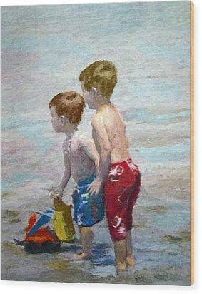 Boys On The Beach Wood Print by Lamarr Kramer
