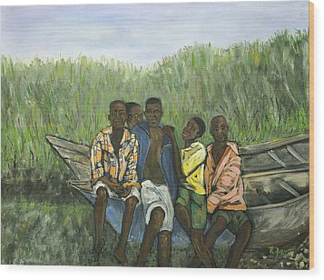 Boys Sitting On The Boat Uganda Wood Print by Reb Frost