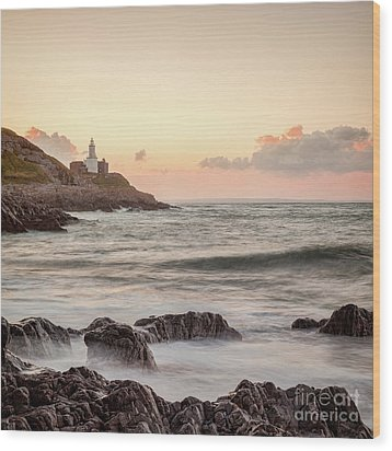Wood Print featuring the photograph Bracelet Bay And The Mumbles Lighthouse by Colin and Linda McKie