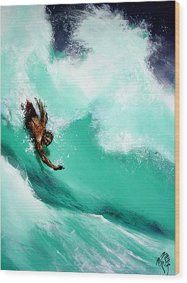 Brad Miller In Makaha Shorebreak Wood Print
