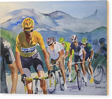 Brad Wiggins In Yellow Wood Print by Shirley  Peters