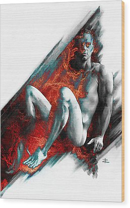 Wood Print featuring the drawing Bradley With Mood Texture by Paul Davenport