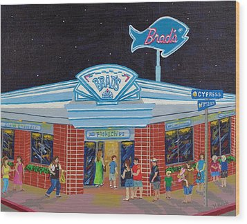 Wood Print featuring the painting Brad's Pismo Beach California by Katherine Young-Beck