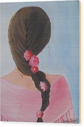 Braided Hair Wood Print by Glenda Barrett