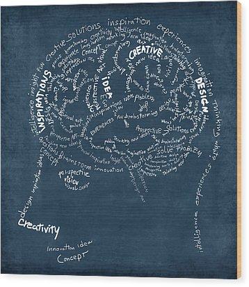 Brain Drawing On Chalkboard Wood Print by Setsiri Silapasuwanchai